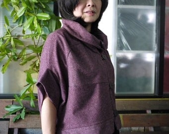 Patched Dusty Purple Brushed Cotton Mix Polyester Stand Collar Drop Shoulder Cape Poncho Cloak Batwing Vest Jacket Blouse