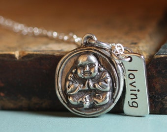 Buddha Necklace Loving Kindness Recycled Sterling Silver Buddhist Jewelry