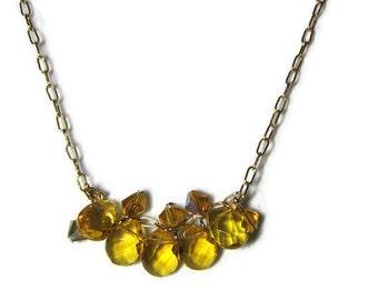 Gold Crystal Necklace, Crystal Cluster Necklace