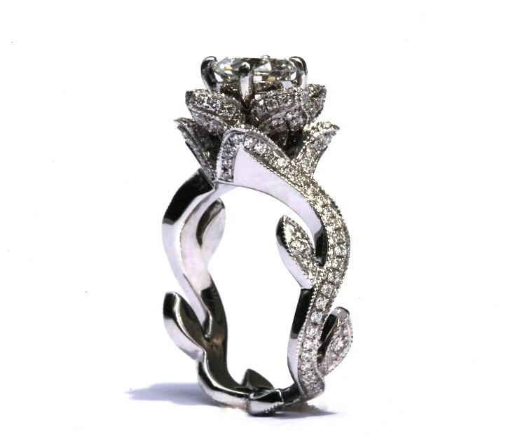 blooming work of art milgrain flower rose lotus by beautifulpetra - Rose Wedding Ring