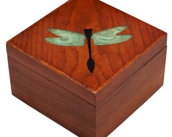 Wood Trinket Box Treasure Box Dragonfly Inlay, Custom Order