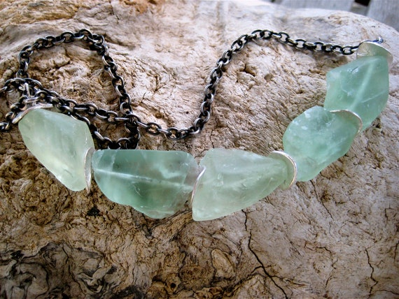 Raw Fluorite Necklace Sea Green Nuggets with Silver Accents on Oxidized Silver Plated Chain Gemstone Jewelry