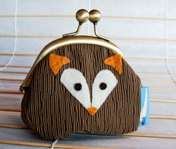 Fox Kisslock Frame Purse - Brown Faux Bois with Orange-Brown Coloring (Upcycled Materials)