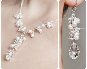 Pearl Bridal Jewelry SET. Wedding Bridal Jewelry Sets, Crystal Bridal Jewelry Set, Wedding Jewellery