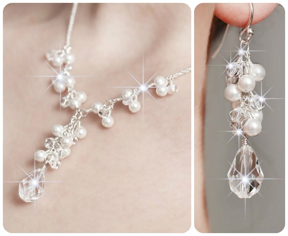 Pearl Bridal Jewelry SET. Wedding Bridal Jewelry Sets Crystal