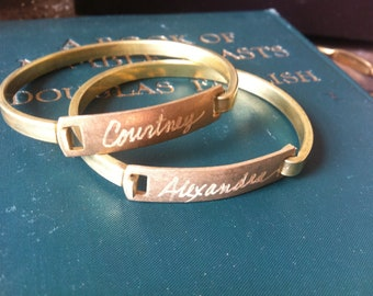 Personalized Name Bangle Bracelet...Your Choice of Names or Words Engraved by Hand on a Vintage Solid Brass Hinged Bracelet.