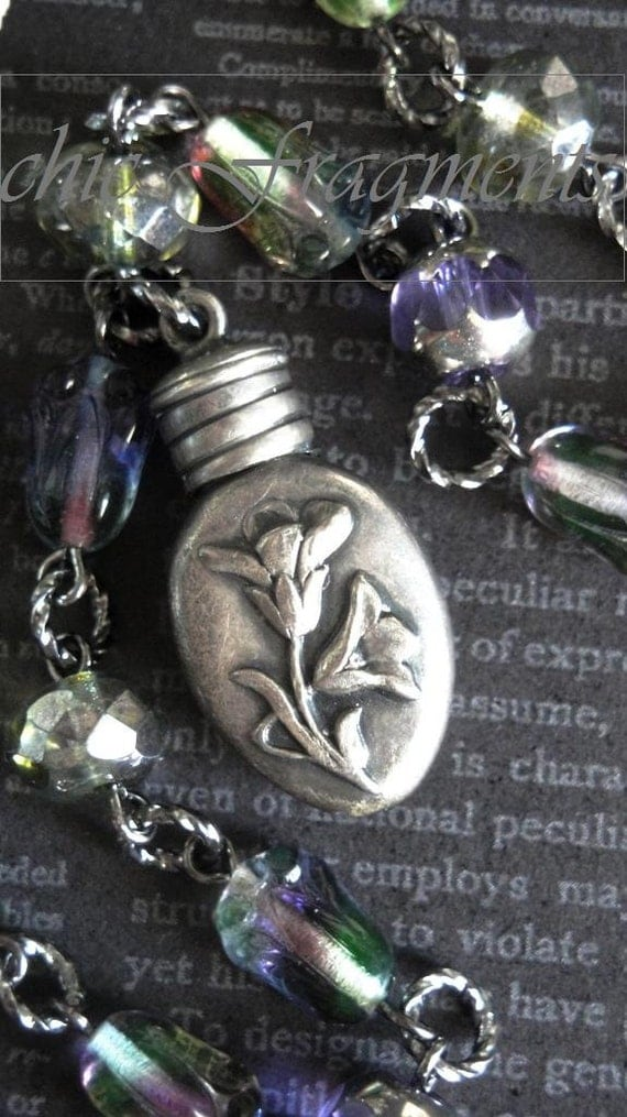 BELLE FLEUR Antique French Petite Repousse Perfume Bottle Necklace. Sterling Silver. Glass Tulip Beads. Limited Series No.1