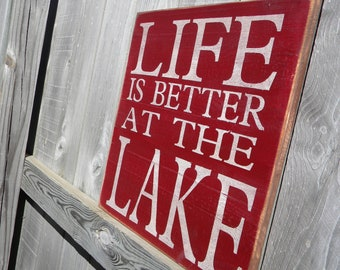 """Cabin Decor """"Life is better at the Lake"""" Primitive Subway Sign"""