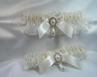 Pearl Drop Wedding garters IVORY Garter set