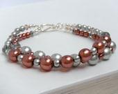 Pink and Silver Beaded Bracelet, Bridesmaid Bracelet, Double Strand Bracelet - Rose Baroness