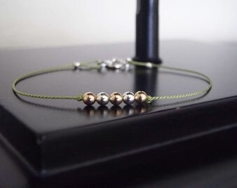 Delicate Bracelets, Dainty Jewelry, Friendship Bracelet, Mixed Metal Bracelet, Simple Bracelet, Modern Bracelet, Gifts for Her Under 20