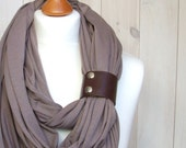Infinity Fashion Circle Scarf Shawl Loop with leather clasp/cuff bracelet, oversized infinity scarf