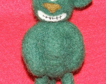 Cyclops Green Critter  Prim Style Critter in Needle Felted Wool