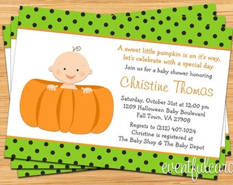 Halloween Pumpkin Baby Shower Invitation - Boy or Girl -  Printable