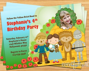 Wizard of Oz Birthday Party Invitation for Kids