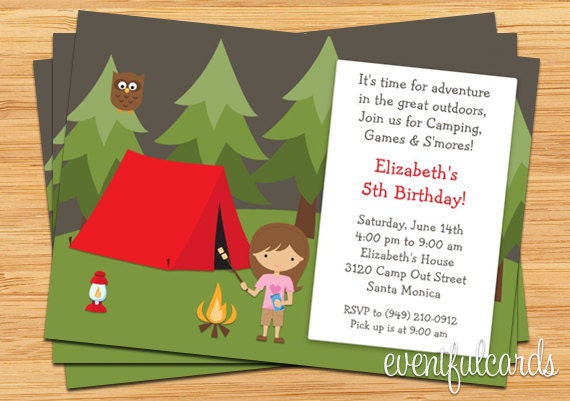 Girls camping birthday party invitation zoom filmwisefo
