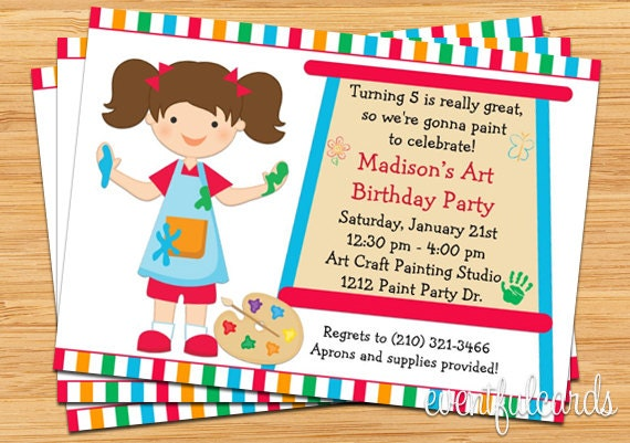 Art painting birthday party invitation for kids printable by il570xn stopboris Choice Image
