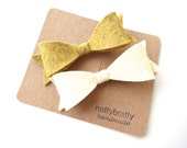 Girls Simple Felt Bow Hair Clips - Mustard Yellow Ivory Cream Winter White - Kids Fall Autumn Fashion Trends