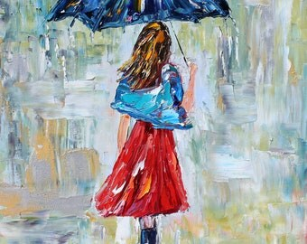 Fine art Print - Rain Dance Three -made from image oil painting by Karen Tarlton impressionistic palette knife fine art