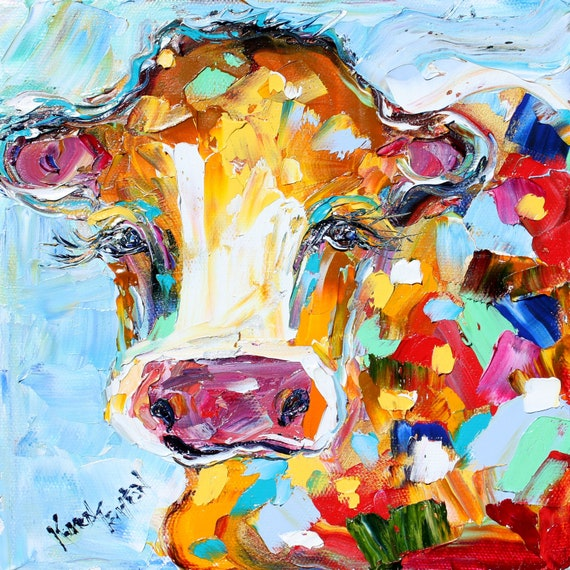 Fine art Print Abstract Little Cow made from image of oil painting by Karen Tarlton - impressionistic whimsical art