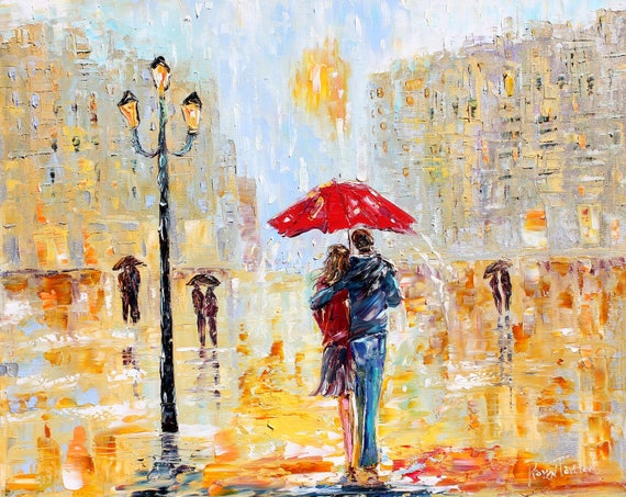 City Rain oil on canvas Landscape palette knife painting ABSTRACT modern texture fine art impressionism by Karen Tarlton