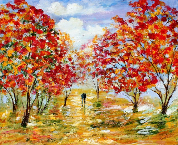 Large Original oil Fall Romance on canvas Landscape palette knife painting ABSTRACT texture fine art impressionism by Karen Tarlton
