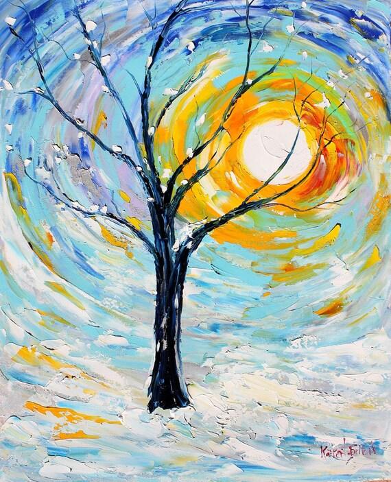 Reserved for Kate Custom work - Original oil painting CHRISTMAS SNOW Winter LANDSCAPE palette knife fine art by Karen Tarlton impressionism