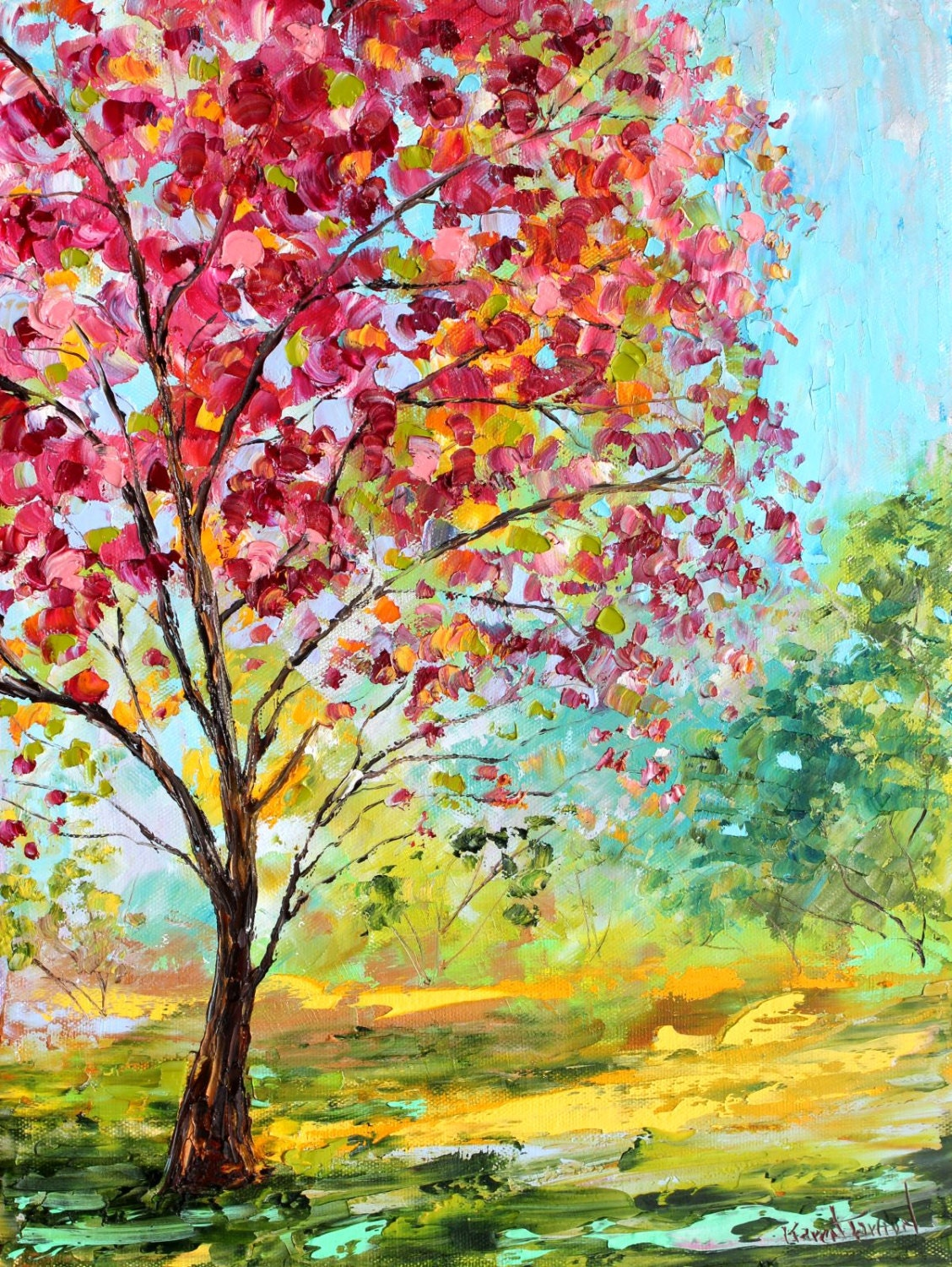 original oil painting summer blossoms tree on canvas by karen