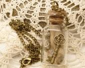 Skeleton Key, Driftwood, Shells in a Bottle Terrarium Necklace