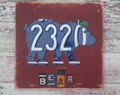 Rustic Bear - Customizable Personalized  - Cabin Lodge Decor Recycled License Plate Art - Salvaged Wood - Upcycled Artwork