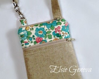 Natural Japanese Linen and Aqua Pink or Purple Green Floral Phone Case with Wristlet and Zipper Closures iPhone 4 5 6 Plus Smartphone Note