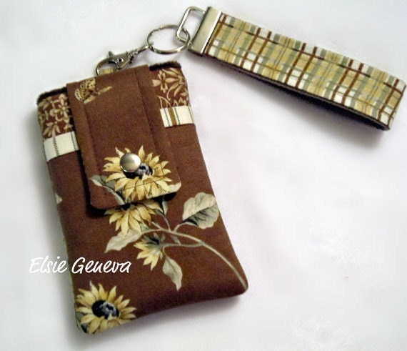 Brown Sunflower & Plaid Phone Case with Wristlet