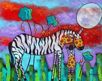 Empathy Zebra and Girl Original Art Print