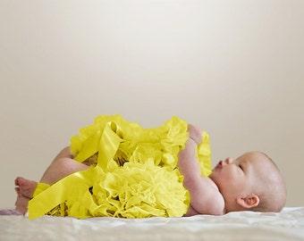 Yellow  Newborn Pettiskirt with free headband with flower