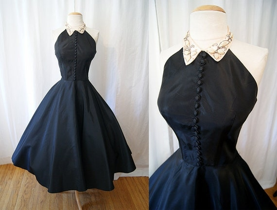 1950's Designer Emma Domb new look halter black taffeta party dress with pale pink hand beaded collar rockabilly holiday - size Medium