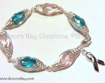Pro-Life  Pink and Blue Herringbone Wire Wrapped  Bracelet Custom Made to Order