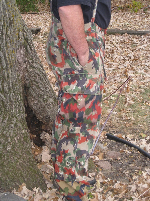 Vintage Camo Pants Overalls Swiss Alpenflage Military 70s Authentic Surplus Clothing Gift For Man