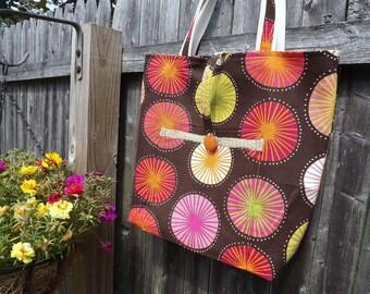 Large Tote Bag, Womens Purse, Retro Printed Tote, School Bag, Diaper Bag