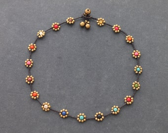 Daisy Colorful Brass Braided Necklace