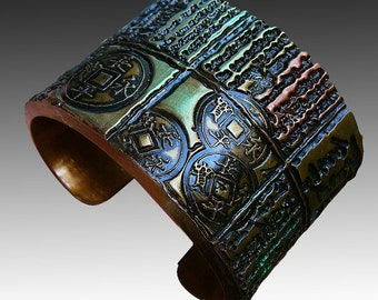 Antique Asian polymer clay cuff bracelet in old gold and touches of patina