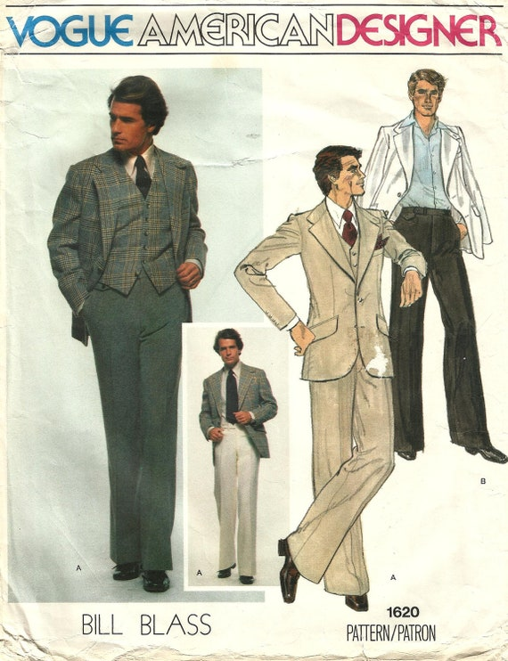 1970s Bill Blass men's 3-piece suit pattern - Vogue 1620