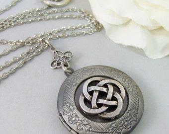 Celtic Talisman,Celtic Locket,Celtic Necklace,Irish Necklace,Celtic Jewlery,Irish Locket,Irish Jewelry,Iris,Lucky Necklace valleygirldesigns