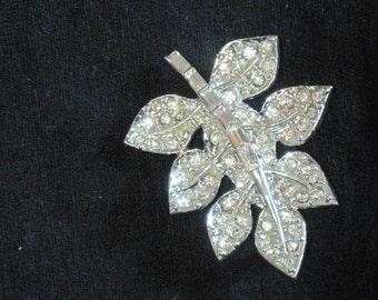 Vintage Rhinestone Brooch -  Crystal Clear Rhinestone Leafy Brooch