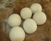 6 Large Alpaca Wool Dryer Balls - Straight from the Farm - Felted All Natural Creamy White or Pretty Swirled Colors - Six