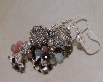 Tourmaline Earrings with Bali style Silver beads Far East Garden earrings