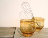 Set of two vintage Amber colored seeded glass bowls