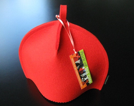 "Small Modern Tea Cozy in Brite Red Wool Felt ""Classic Clean"""