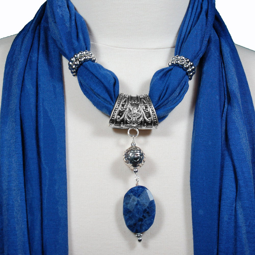 jewelry scarves royal blue scarf with sodalite by