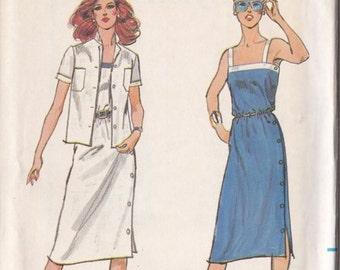 Misses Sundress & Jacket Pattern - Butterick No.3038 Size 10 - Dress Left Side Button Trim And Hemline Slit - Uncut