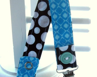 Pacifier Clip with Snaps Double Sided - turquoise with brown and white polka dots